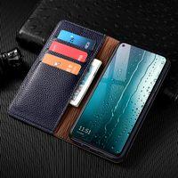 Funda de cuero genuino de Litchi Wallet para iPhone 6 6s 7 8 Plus X XS XR 11 12 Pro Mini SE 2020 Max Cubierta de negocios