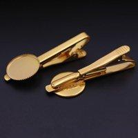 Gold Color Clip Pines Clasps Mens Barra de corbata con 18 mm Círculo Bezel Cabochon Base Blancos Hallazgos de metal Accesorios de ropa DIY