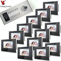 Yobang الأمن التحكم في الوصول 7 بوصة شاشة اللون ir الجرس الكاميرا المرئية الرئيسية الفيديو الاتصال الداخلي ل 12 شقة نظام الباب الهواتف