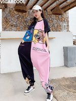 Women's Jumpsuits & Rompers Macacão feminino de mangas curtas, nova coleção verão , com desenho colorido, solto, fino, plus size, calças harlan FA1R