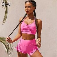 Giyu Sexy Tracksuit 2 peças Set Mulheres 2021 Summer Sport Gym Câmeras Calças Calças Terno Off Off Slim Dois Conjuntos Femininos Tracksuits