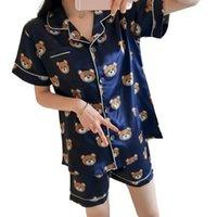 Печать летние WAVMIT с коротким рукавом шелковые пижамы набор двух частей набор женщин спать сексуальное ночное белье для женщин спальный набор Q0524