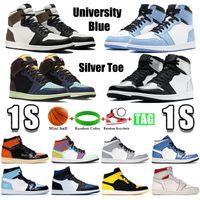 2021 Universidad Azul 1 1s Zapatos de baloncesto Oscuro Mocha Mid Light Smoke Grey Silver Toe Top 3 Obsidian UNC Men Mujer Sneakers