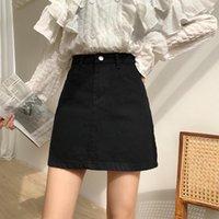 Skirts Women Spring Summer 2021 Solid Short Mini Skirt Female High Waist Demin Korean Black Plus Size Cotton