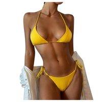 Ladies Sexy Solid Color Bikini Two-Piece Swimsuit Set Pool Party Beach Traje De Bano Bandage Biquini Women's Swimwear