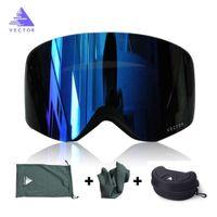 OTG Ski Goggles Snowboard Mask For Men Women Skiing Eyewear UV400 Snow Protection Over Glasses Adult Double Anti-Fog Cylindrical 201022