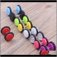 & Tunnels Drop Delivery 2021 Man Stud Screw 100Pcs 9 Color S Of Cheater Faux Fake Ear Plugs Gauges Tapers 16G Earrings Body Jewelry 93Guq