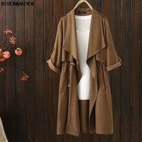 Plus Size Outerwear & Coats Women Clothing Trench Coat 2021 Autumn Loose Casual Drawstring Waist Solid Color Long 305