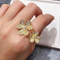 Fashion 4 / Four foglia trifoglio 3 fiori anelli a fascia aperta con diamanti S925 argento oro 18 carati in oro per womengirls Valentine's Day Festa della mamma regalo gioielli di fidanzamento