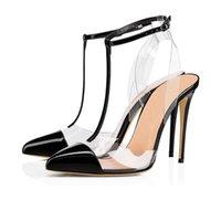 수제 숙녀 하이 힐 샌들 PVC 가죽 패치 워크 모자 슬링 백 J-Strap 섹시한 저녁 여름 패션 데일리웨어 신발 N221