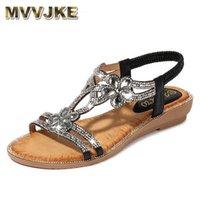 Mvvjke Bohemian Style мода женщина сандалии бриллианты клина вечеринки обувь для женщин женщин летний плюшевый размер 210608