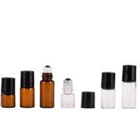 1ml 2ml 3ML TRANGBER AMBER transparent sur la bouteille de verre Bouteilles de rouleau vides pour les huiles essentielles Emballage avec bille métallique et paupières noires