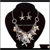 Orecchini Collana Set Set Drop Consegna 2021 Amazon Summer Summer Style Shell Shell Set di gioielli Set di gioielli Insieme all'ingrosso Grmiy su misura