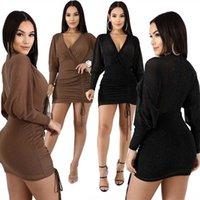 Bayan Bayan Elbise Uzun Kollu Elbise Bayan Moda Bandaj Dekor O-Boyun Zarif Artı Bayanlar Siyah Sonbahar Örgün Elbise Elbiseler Ofis Boyutu