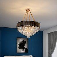 50cm 80cm modern fashion  round black crystal chandelier lighting contemporary pendant light for hotel villa living dining room bedroom