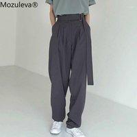 Mozuleva Mode Gürtelte Frauen lange Hosen Hohe Taille Kausal Lose Hose Für Frauen Hosen Elegante Wide Bein Capris Weibliche 20201