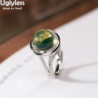 Cluster Rings Uglyless Natural Gemstones Blue Perot For Women Fashion Dress Jewelry Amber 925 Silver Crystals Bijoux