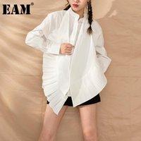 [EAM] Kadınlar Wite Pileli Büyük Boy Bluz Yeni Standı Yaka Uzun Kollu Gevşek Fit Gömlek Moda Gelgit İlkbahar Sonbahar 2020 YG6380