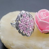 Wedding Rings Hermosa Jewelry Princess Shiny Pink Kunzite Silver Color Engagement 6.5# HR015