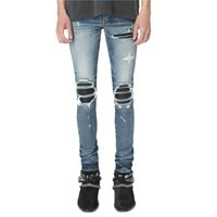 hot top quality Classic blue big holes tasse patchwork Jeans mx1 miri Slim Motorcycle Denim pants Fashion Designer Hip Hop Mens Jeans HQ16