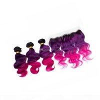 Raíces Oscuras Cuerpo Virginal Onda Cabello Con Lace Frontal Ombre 1B Púrpura Pink Hair Human 3 Bundles Con Cierre Frontal