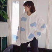 Korean Cloud Hooded Sweatshirt Plus Velet Long Sleeve Causal Hoody 2021 Autumn Winter Women Hoodies Jumper Women's & Sweatshirts