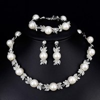 Earrings & Necklace 1set Faux Pearl Bridal Jewelry Sets Silver Color Wedding Bracelets