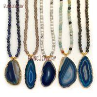 Blue creato Agates Slice Pendant Collana Collana Mix Branelli Catena NM23888 Collane