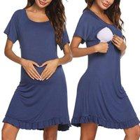 임신 한 여성 잠옷 드레스 짧은 소매 레이스 간호 수유 여성 우아한 출산 드레스