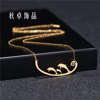 Creative Stainless Steel Dolphin Animal Personalized Pendant Necklace