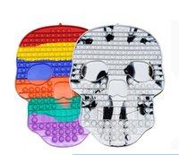 Hidget игрушки Rainbow Череп Стресс Средство сброс Пузырьки Декомпрессионные Сенсорные Палец Игра Дети Игрушка для Хэллоуин Party Hood Gwa7534