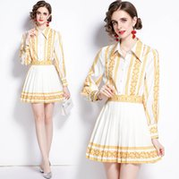 2021 Classic Printed Shirt White Dress Runway Designer Summer Autumn Long Sleeve Lapel Graceful Holiday Office Ladies Slim Mini Pleated Dresses Prom Women Clothes
