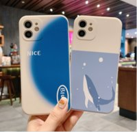 Simple blue creative personality dolphin phone cases for iphone13 pro max 12 min 11 X XR XS 6 6s 7 8 PLUS SE case cover
