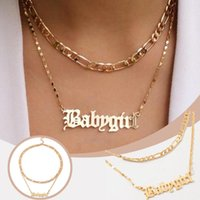 Pendant Necklaces Girlfriend Jewlery English Letter Alloy Layered Choker Necklace Baby Girl Chunky Chain