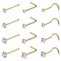 Multi Styles Stainless Steel Sexy Cubic Zircon Stud Hooks Bar Pin Nose Rings Ear Cuff Body Piercing Man Women