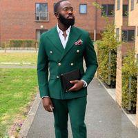 Verde scuro Doppi Bresed Mens smokyos Two Pezzi Vestito per Matrimonio Prom Seaked Bavero Groomswear (Giacca + Pantaloni)) Abiti da uomo Blazer