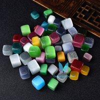 0,22LB polierter natürlicher Regenbogen-Cymophan-Cube Cat-Eye-Trommelstein-Kies-Kristall-Kristallsteine handgeschnitten für den Fischtank
