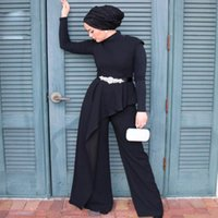 Black Muslim Mother of the Bridal Outfit Dresses High Collar Arabic Turkey Wedding Party Gowns Two Pieces Long Sleeve Formal Wear