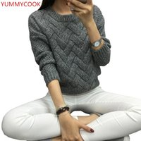 Sweaters Femmes Yummycook Hiver Gardez chaud Simple Couleur Solide Pull Pull Sweater Femelle Loet Long Manches rondes Col Vêtements Topab90