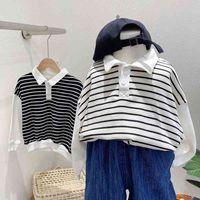 Otoño 2021 New Children's Sweater Boys Stripe Polo Shirt Jeans Traje de manga larga