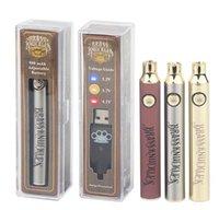 황동 너클 전자 담배 배터리 650mAh 900mAh vape 펜 전압 조정 가능한 3.2V 3.7V 4.1V 나무 SS 골드 510 배터리 예열 배터리