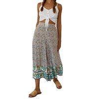 Mode Damen Hosen Bequeme Strand Baggy Boho Gypsy Hippie Hose Hohe Taille Print Lose Harem Womens Wide Bein Frauen Capris
