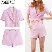Kadın Setleri 2 ADET Pembe Kırpılmış Blazer Suits Yaz Zarif Kadın Kıyafetleri Yüksek Bel Şort Takım Elbise İki Adet Set 210519