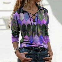 Women's Blouses & Shirts Vintage Plaid Printed Women Blouse 2021 Autumn Fashion Lace-Up V Neck Long Sleeve Ladies Office Casual Loose Pullov