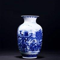 Blue And White Porcelain Chinese Vase Ornaments Living Room Flower Arrangement Jingdezhen Antique Ceramics Handmade Decoration Vases