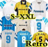 90 91 93 98 98 Retro Comemorate Jersey 99 00 Balncamps Papin Camiseta Boli Dugarry Voller Marselha Futebol Pires Ravanelli