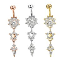 & Bell Jewelrysexy Dangle Bars Button Belly Cz Crystal Flower Body Jewelry Navel Piercing Rings Mya30 Drop Delivery 2021 7Pk0D