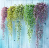Colorful artificial flowers vines silk hanging ivy leaf plant leaves for home garden wall decoration plastic flowers-wedding SN5701