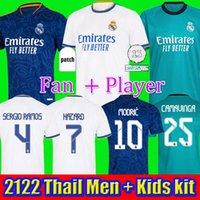 Gerçek Madrid 2122 Futbol Formaları Tehlike Futbol Gömlek Alaba Sergio Ramos Benzema Asensio Modric Marcelo Camiseta Erkekler + Çocuk Kiti 20 21 22 Üniforma Dördüncü