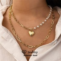 Chains Heart Shape Necklace For Women Double Layered Clavicle Chain Gold Silver Color Choker Pendant Delicate Torque YH546